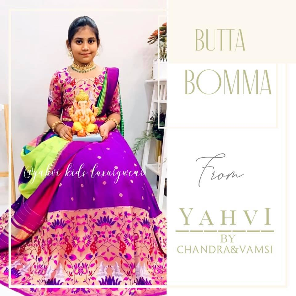 Purple big border paithani kids lehanga and blouse in silk paired with ikkat silk dupatta . Limited edition grab soon . For Ordere DM or whatsapp 7893037777. 2021-09-13