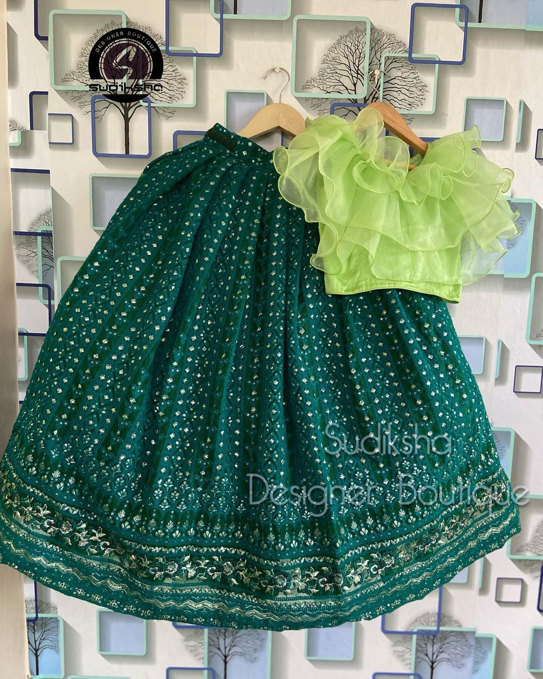 Beautiful kids skirt and ruffle crop top. For order or query contact with us What's app: 9391616131. 2021-09-13