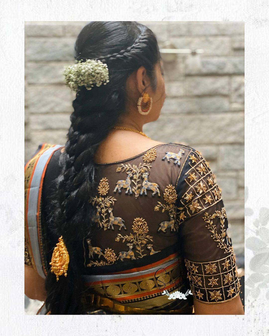 Stunning black color bridal blouse sheer back with deer ahdne embroidery gold thread and stone maggam work.  2021-09-13