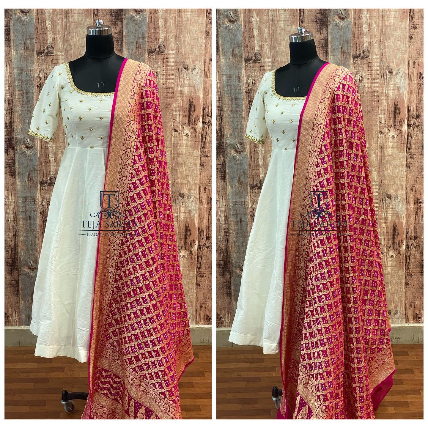 Gorgeous pearl white color long frock with benarasi dupatta. Long frock with hand embroidery gold thread work on yoke.  2021-09-14