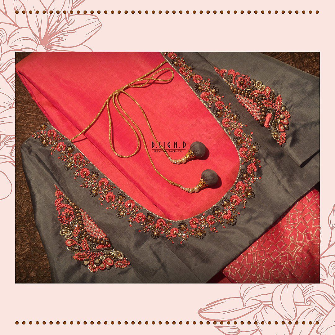 Stunning ash gray color bridal blouse with floral and creeper hand embroidery multi color thread zardosi work.  2021-09-14