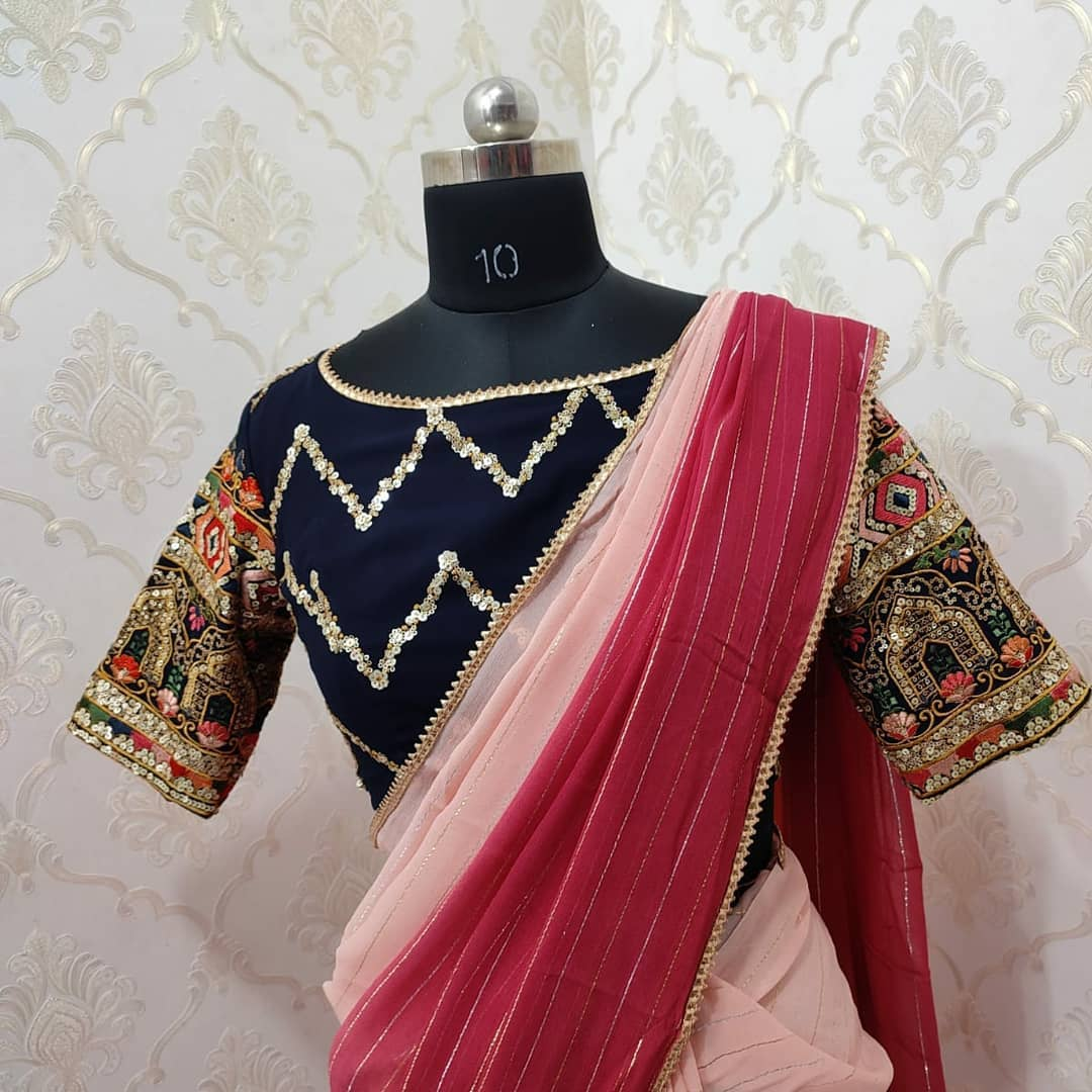 Beautiful designer pure Georgette dual shade saree paired with pretty blouse..... Collection no:083hv For price details inbox  on +917799503713. 2021-09-14