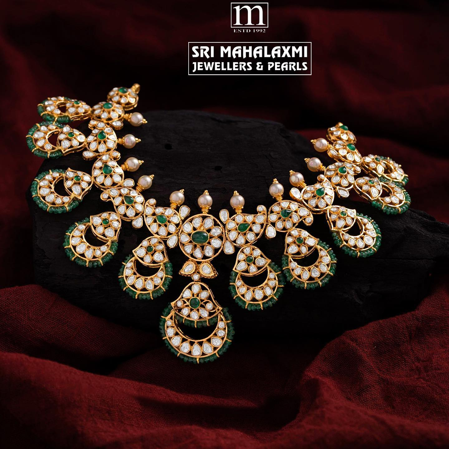 Fine jewellery! Exquisite pacchi work necklace studded with fine quality flat diamonds polki double cut diamonds and emeralds.  For details call  on +91 9676804991; 7093820881. 2021-09-14