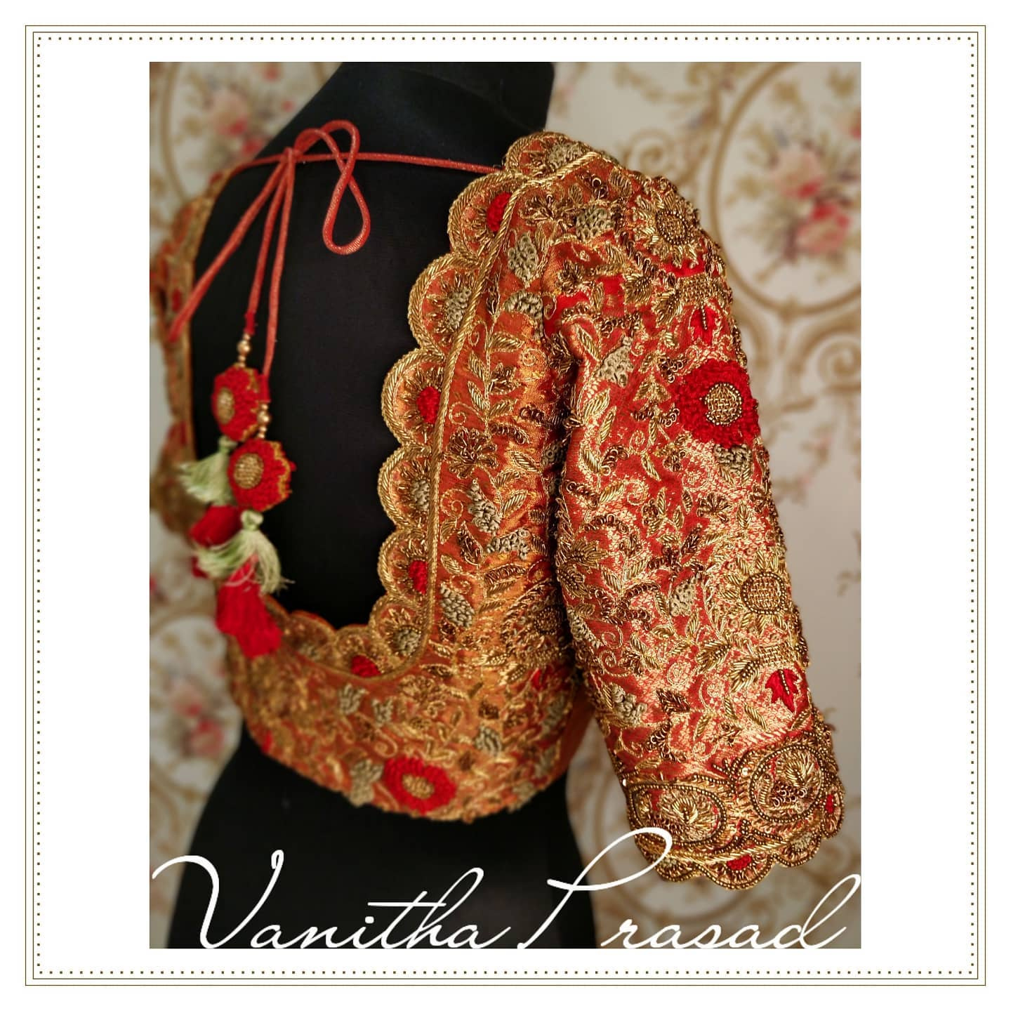 Bridal blouse design in gold and red without contrast shades. 2021-09-14