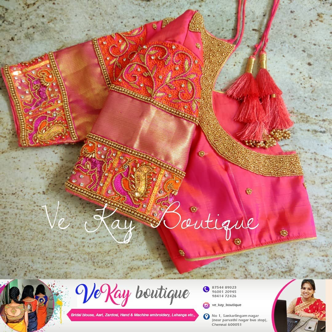Beautiful pink shade bridal blouse with swan hand embroidery bead aari work on sleeves and neckline.  2021-09-14