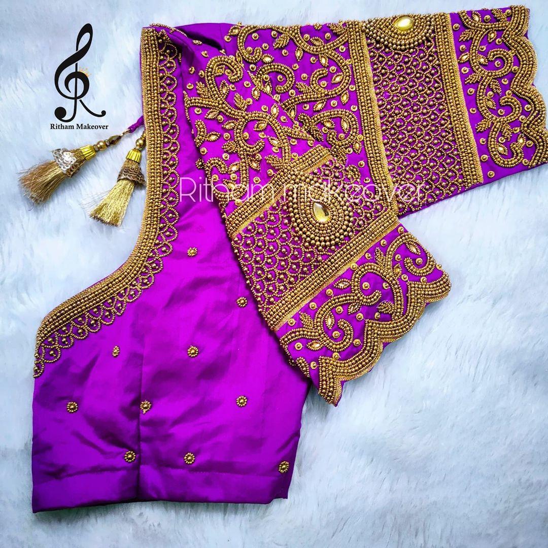 Stunning purple color blouse with bead simple aari work blouse. 2021-09-14