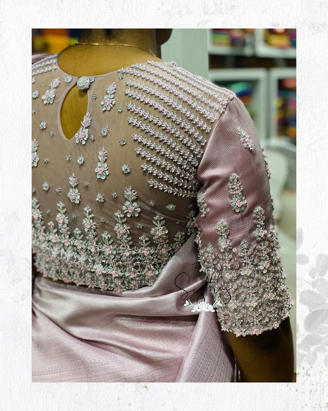 Stunning party wear blouse back with floral stone hand embroidery work.  2021-09-14