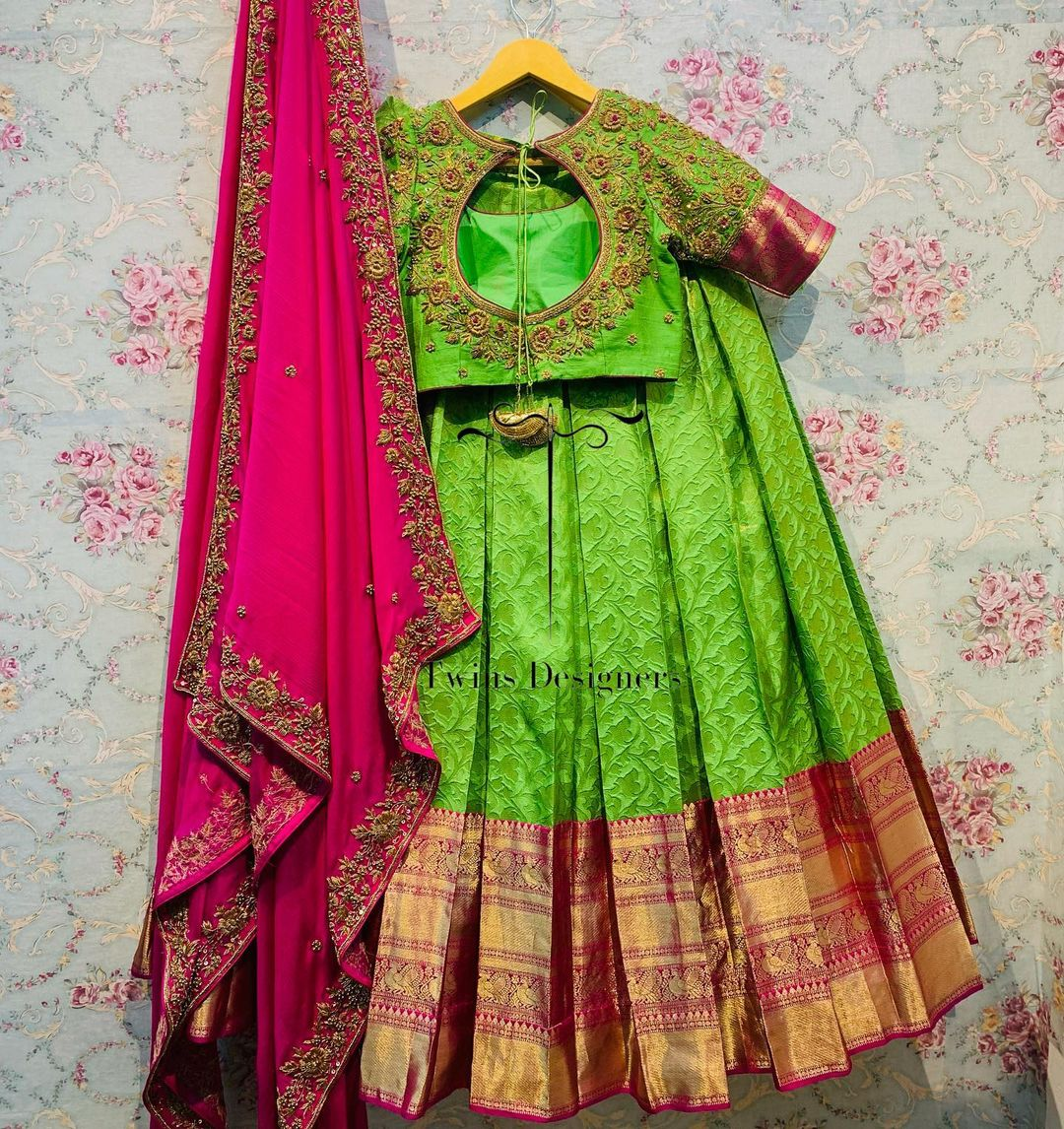 Pure kanjeevaram lehenga paired with contrast hand made work blouse & duppata