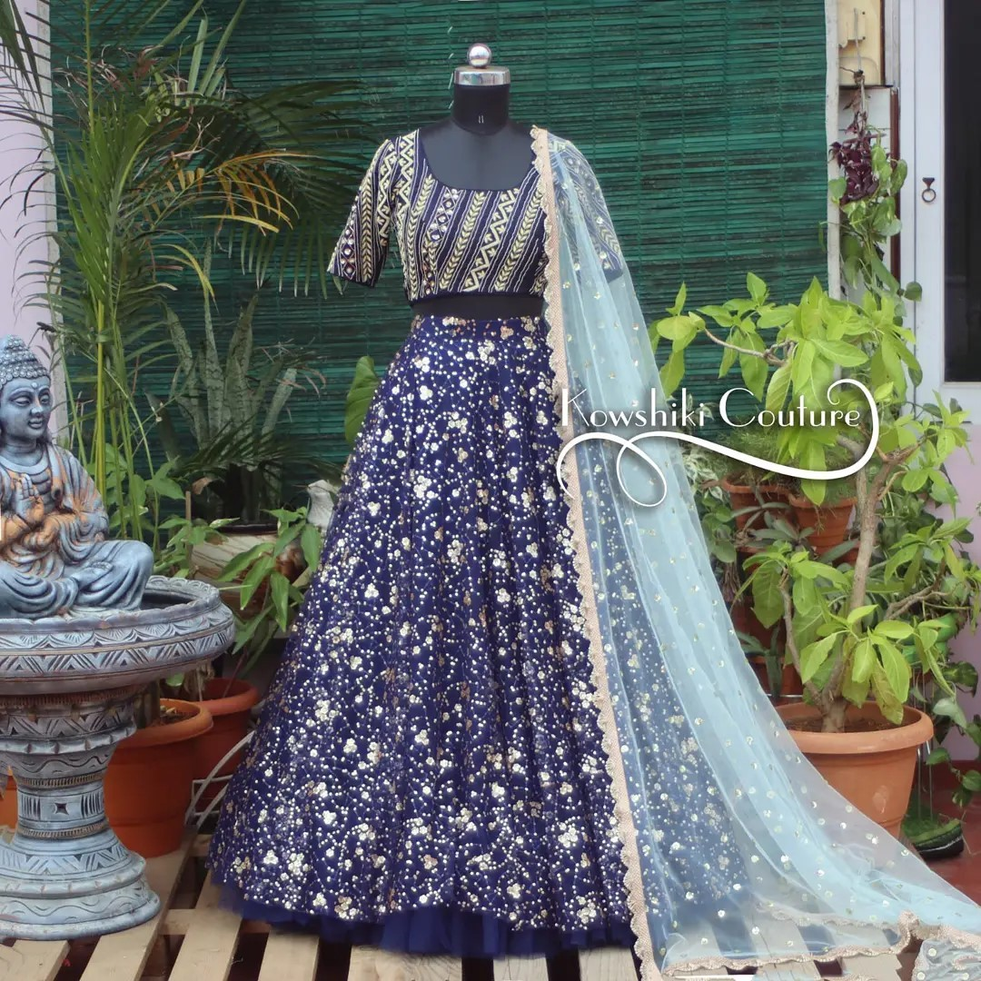 Heavy work sequins Lehenga paired up with net duppatta for ₹12500. 2021-09-14