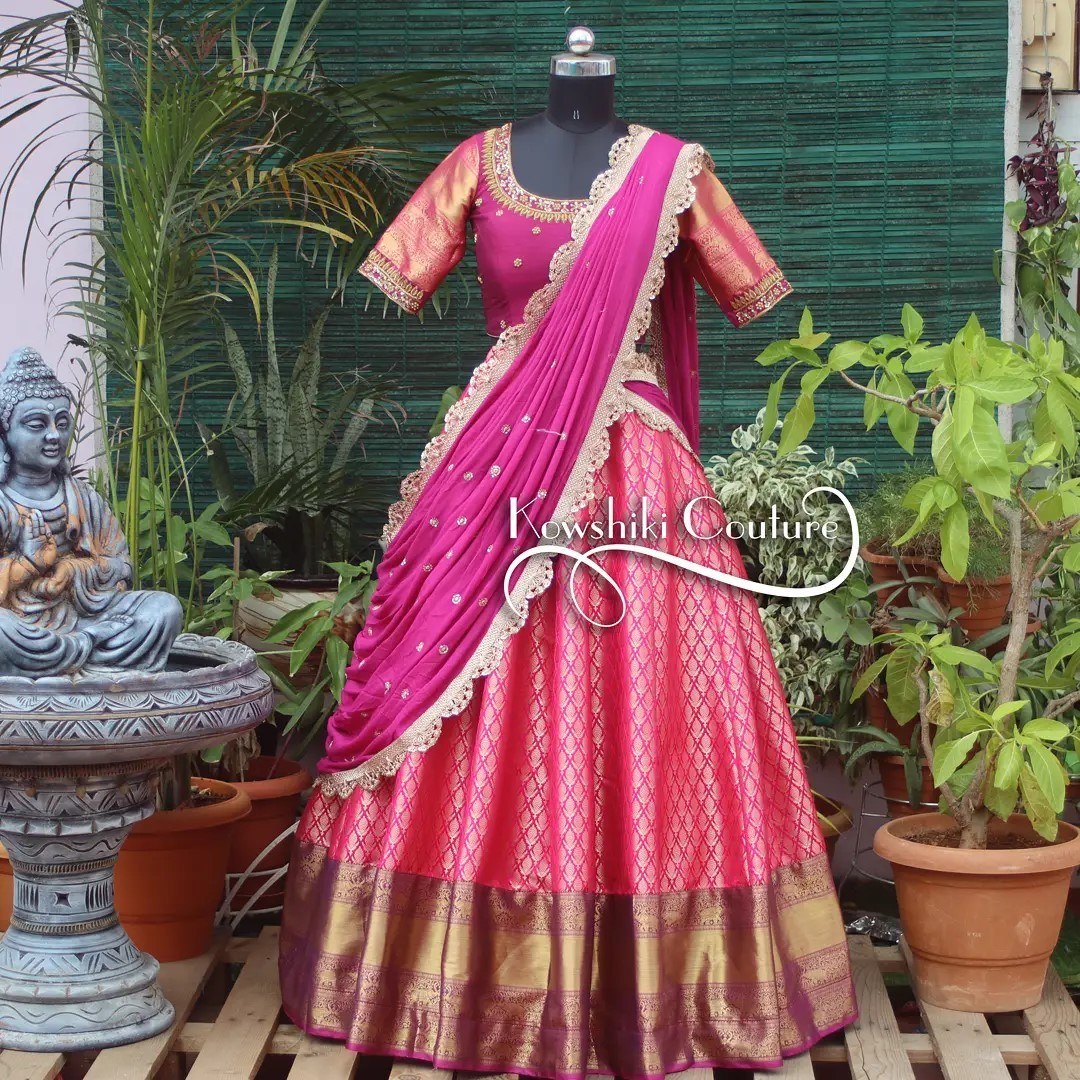 Beautiful Pink traditional half saree for pink lovers . Price ₹12500/- 2021-09-14