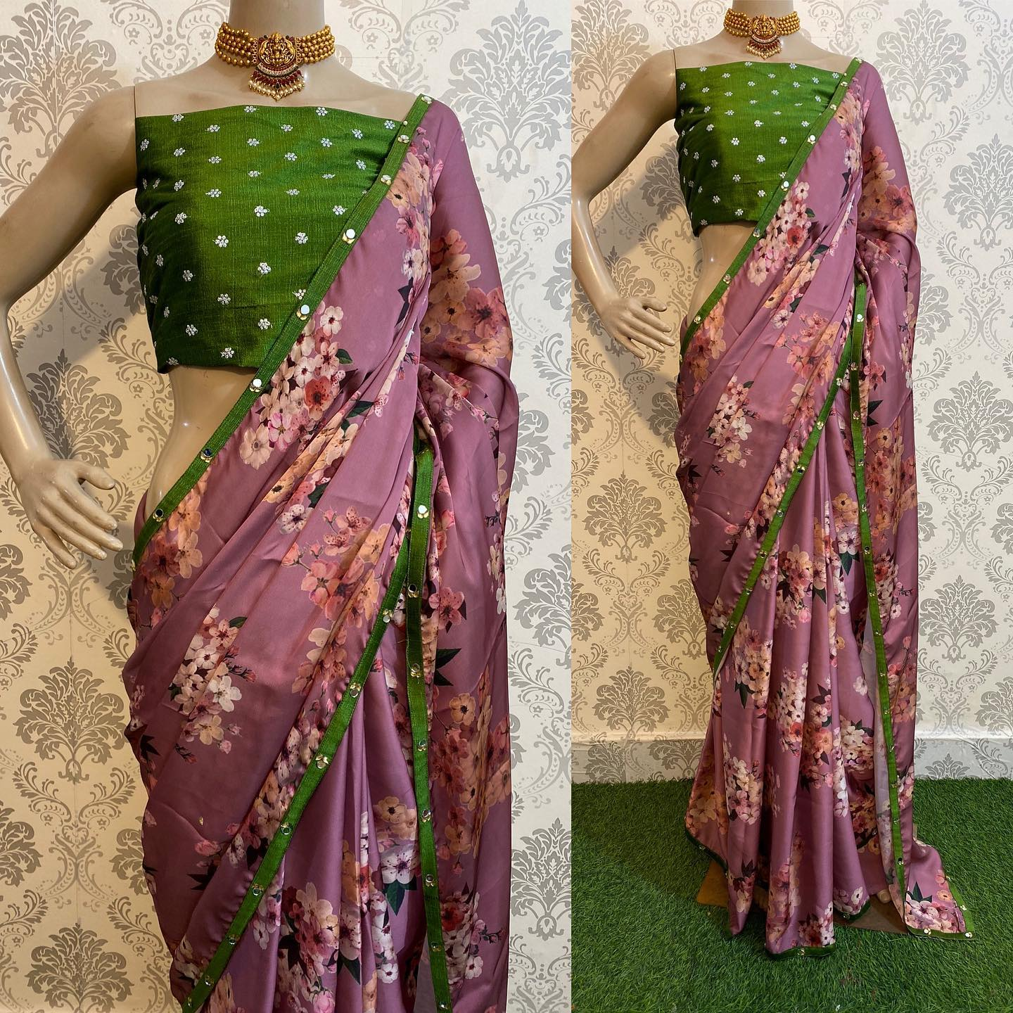 New Floral Collections on this Festive season..!! Unstitched silk embroidery blouse with silk satin saree with original mirror work border ..!!  For orders watsapp on 8072774265. 2021-09-15