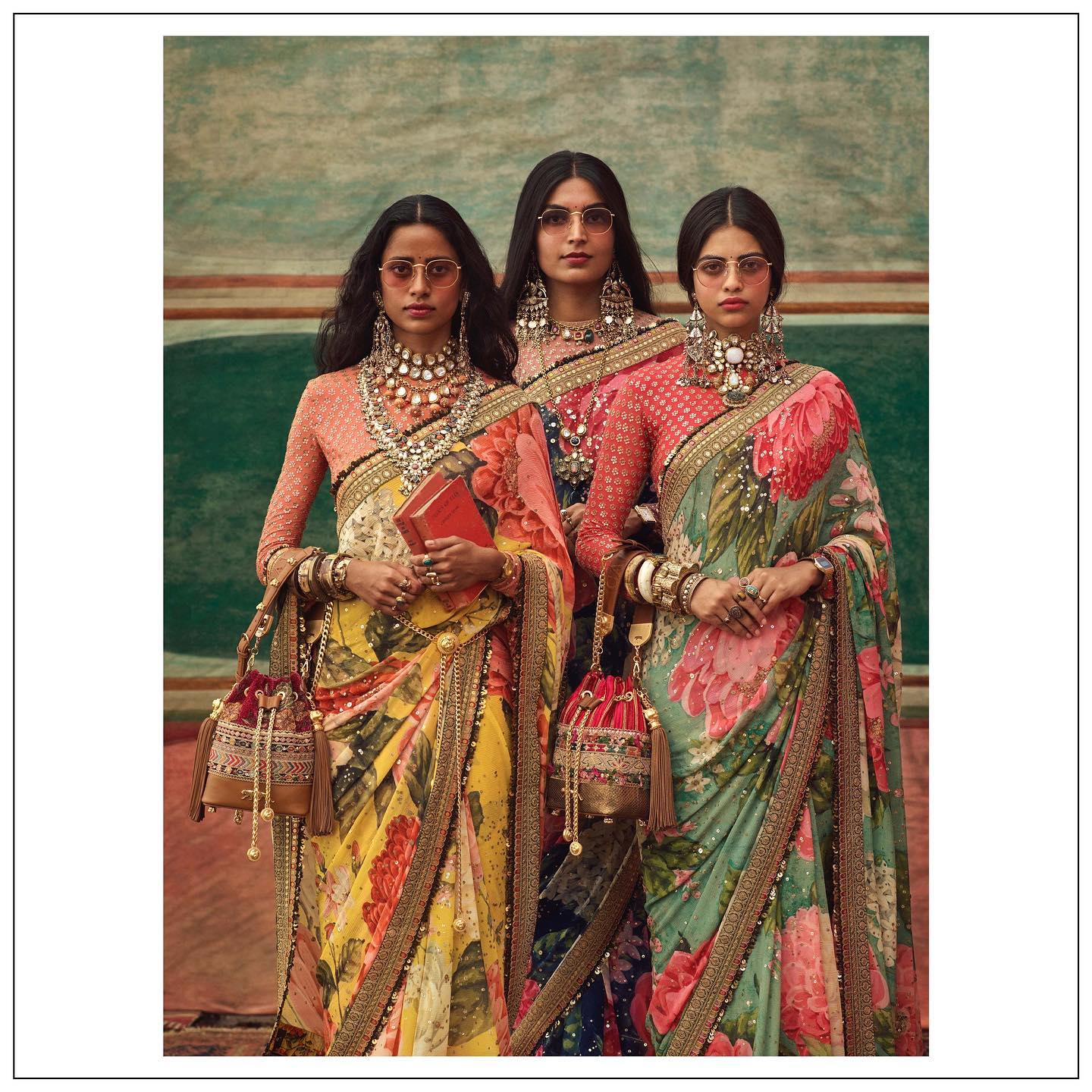 Sabyasachi floral saree. The Sabyasachi 2021 Collection.  Womenswear jewellery Sabyasachi jewelry and accessories Sabyasachi accessories..  For all product related queries please email at customerservice@sabyasachi.com or contact retail stores directly. 2021-09-15