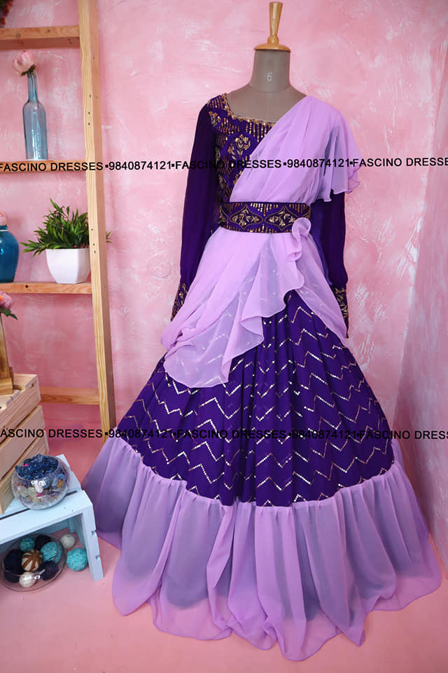 Beautiful purple ruffled lehenga with completely hand worked crop top. Wats app or inbox to order 9840874121 Can customize in any color /size. 2021-09-15