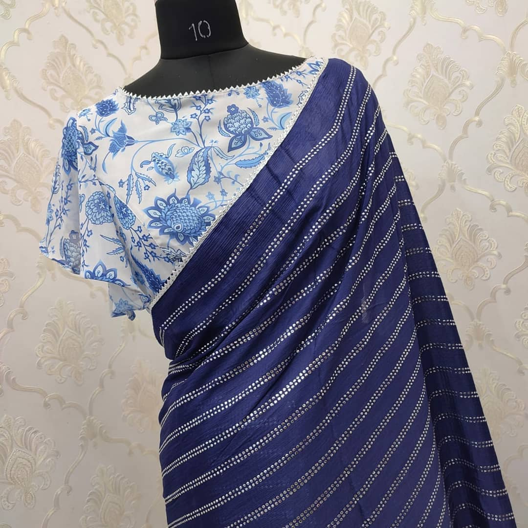 Exclusive designer high quality chiffon saree paired with pretty floral blouse . Collection no:093HV. For price details inbox on +917799503713. 2021-09-15