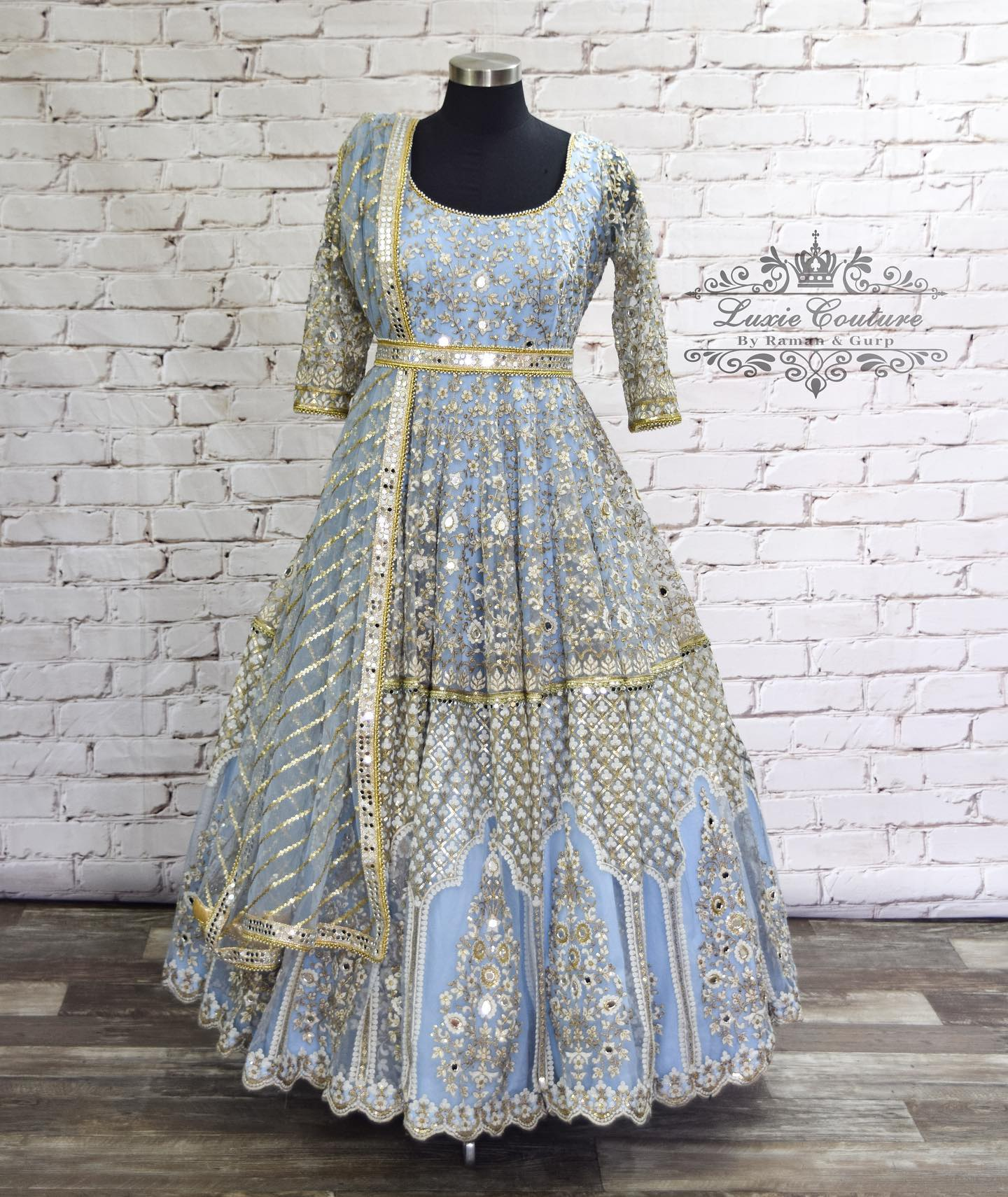 Gorgeous ice blue color floor length anarkali dress with mirror work and embroidery waist belt.  2021-09-15