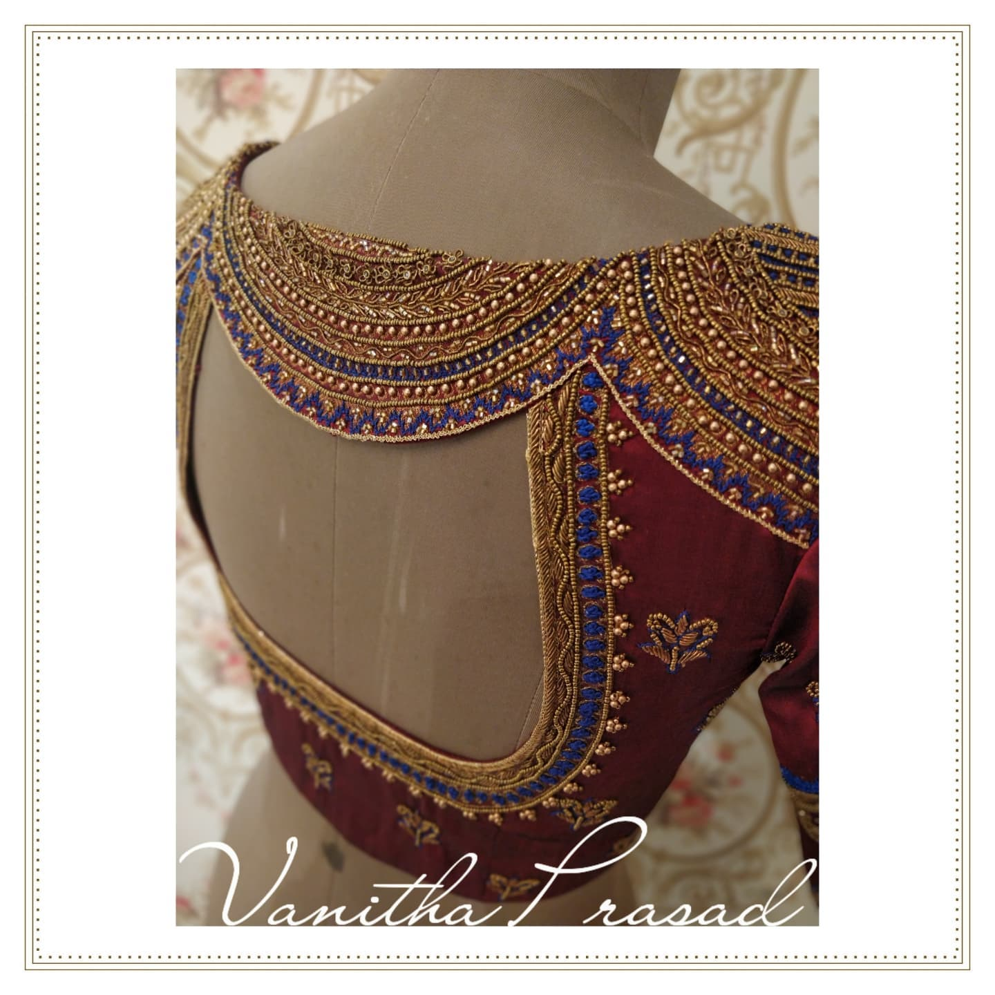 How easily limitations turn into statement designs with the right approach while designing simply amazes me. The top part of the blouse is a straight zari border which they moved to back top part and cut into scallop intricately highlighting the entire detailing on the zari's design. Thus shaped this beauty!   2021-09-15