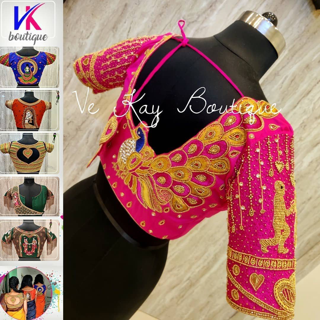 Beautiful pink color bridal blouse with peacock hand embroidery maggam work.  2021-09-15