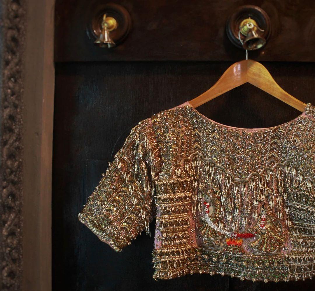 Stunning heavy zardosi maggam aari work hand embroidery bridal blouse. 2021-09-15