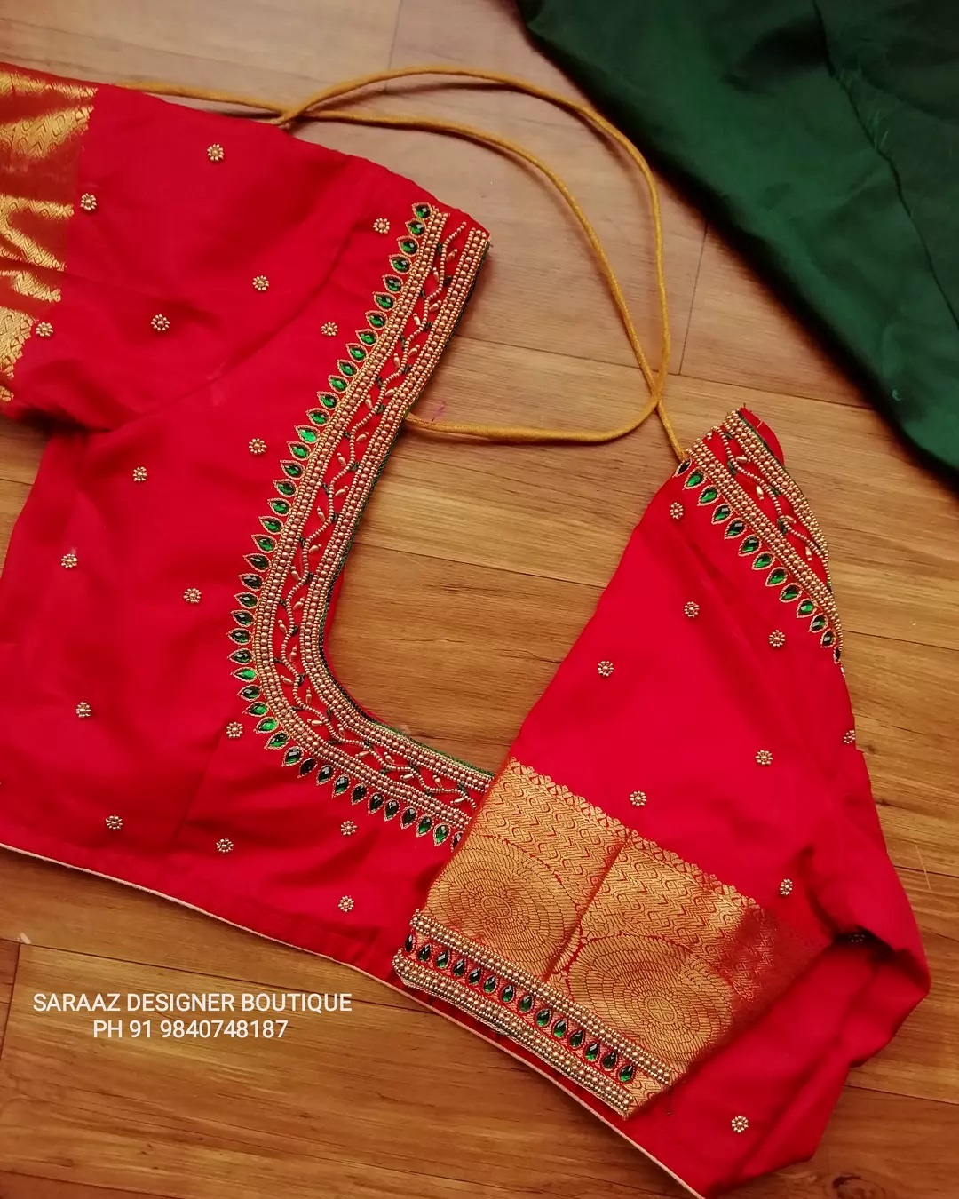 Elegant simple aari work blouse . To get your blouse customised call  at 91 9840748187 . 2021-09-15
