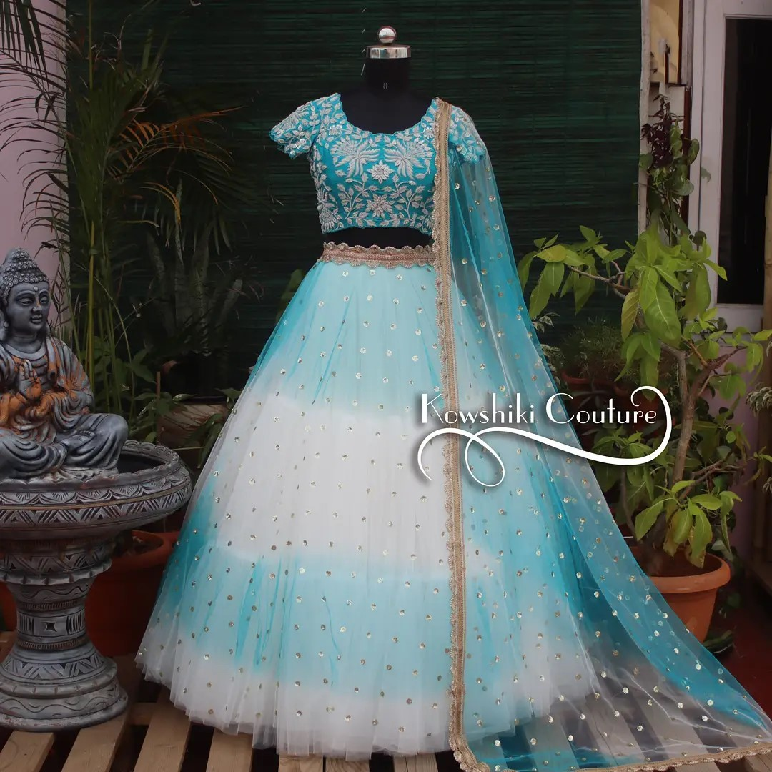 Double shaded Lehenga with heavy work silver zardosi croptop. Price ₹20000/- Ps: color can be customised to any colour of your choice. 2021-09-15