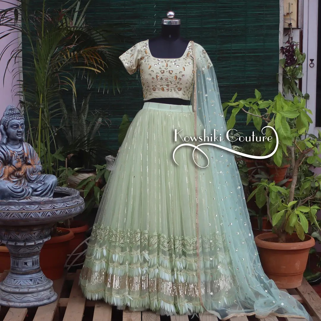 Unique Lehenga choli with beautiful sequins chain and lace work .  Price ₹12000/- 2021-09-15