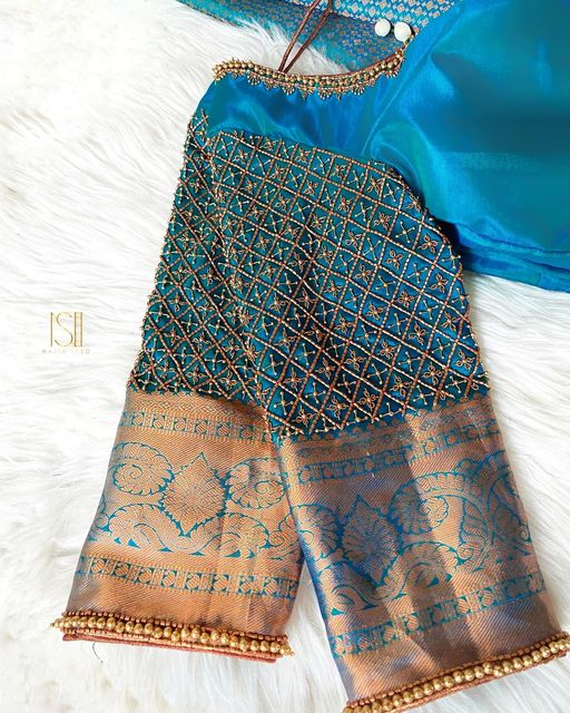 Antique grid work blouse with border edge bead work detailing Customization available in any colour. To book appointments contact 7092586311. 2021-09-16