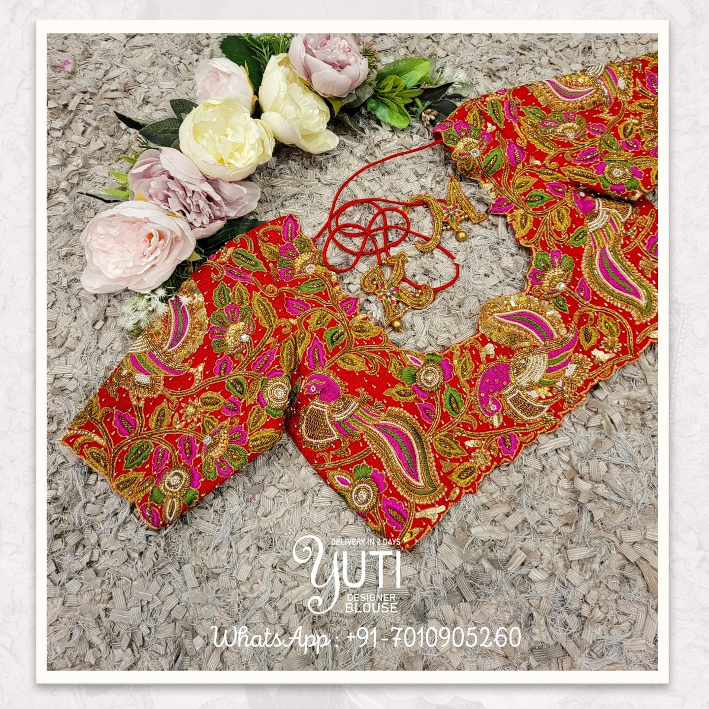 Stunning red color bridal blouse with peacocks and floral creeper hand embroidery heavy maggam work.  2021-09-16