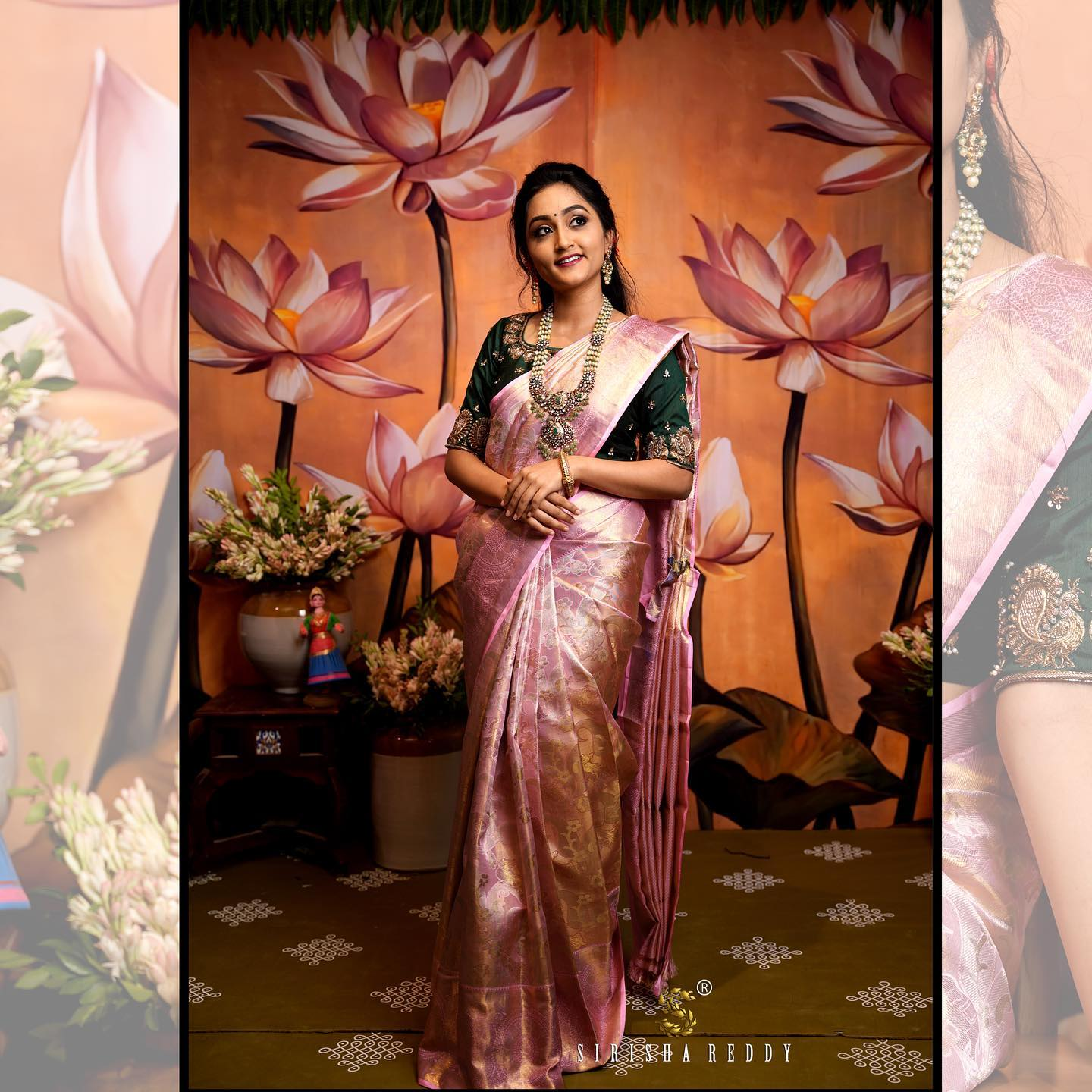 The pink shades are always the girls best choice. Here is onion pink sahde tissue kanchi saree. 2021-09-16