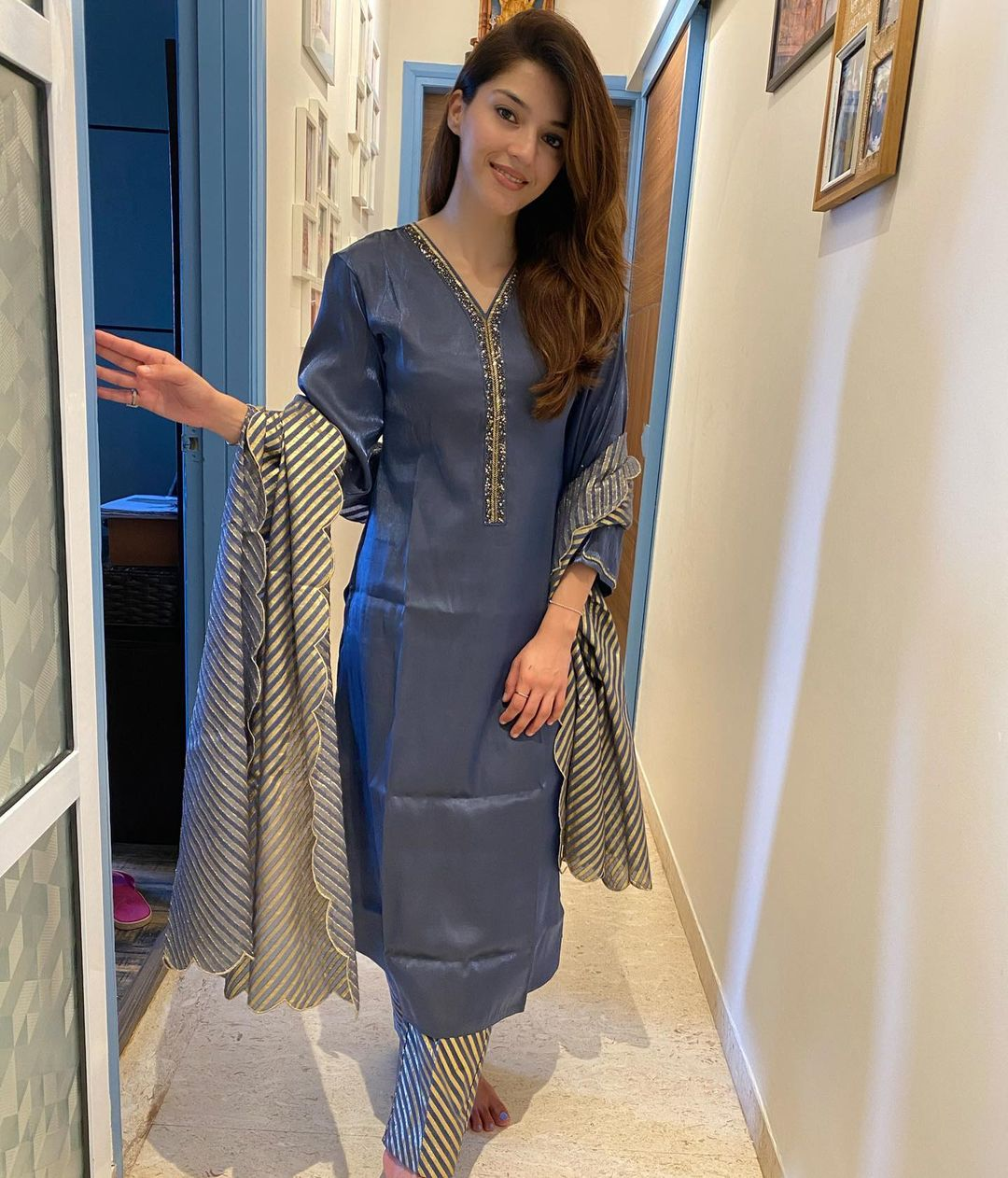 Beautiful actress Mehreen in gray color kurti and striped straight pant and dupatta. 2021-09-16