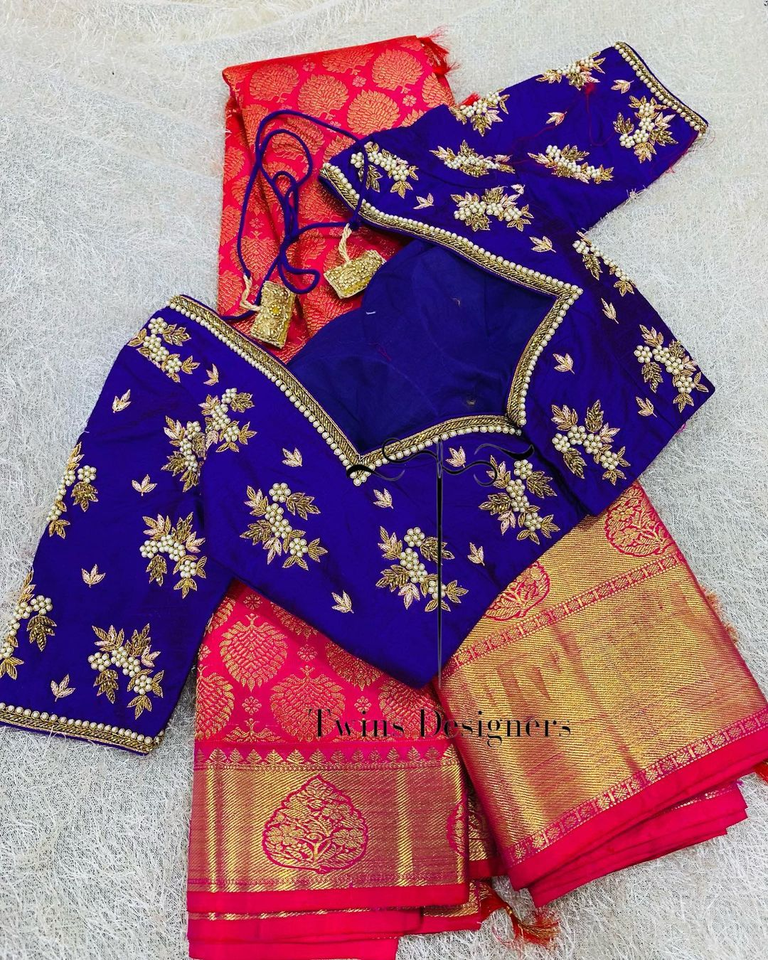 Pure kanjeevaram saree paired with contrast hand made work blouse