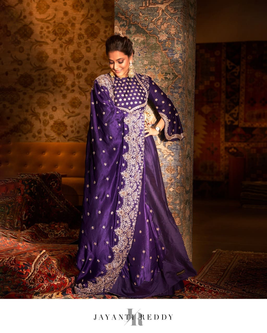 The beautiful Nisha Aggarwal leaves us totally star-struck in royal purple embroidered anarkali set. 2021-09-16