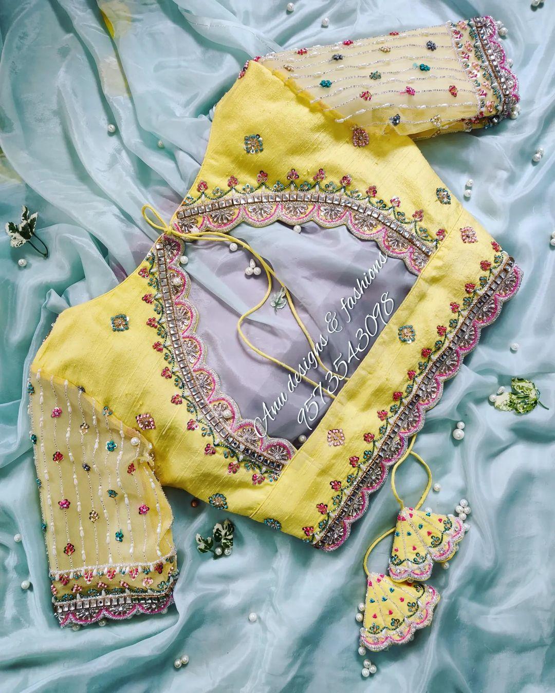 Stunning lime yellow color blouse with bead and kundan zardosi work on neckline and sleeves. 2021-09-16