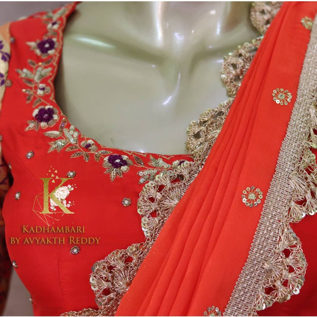 Stunning purple pattu langa and orange blouse with net dupatta. Blouse with hand embroidery maggam work. 2021-09-16