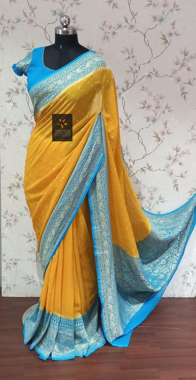 Pure Banarasi chiffon gorgette sarees in 4 beautiful combos. 2021-09-17