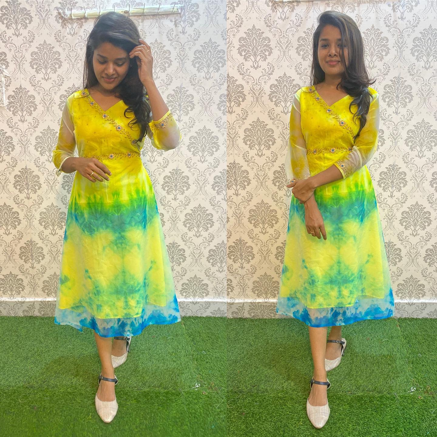 Priced at 1550 Inr plus Shipping  Silk Yellow and Blue tie and Die silk Tail - A line Kurthi with hand work on time and detailed sleeves. 2021-09-17