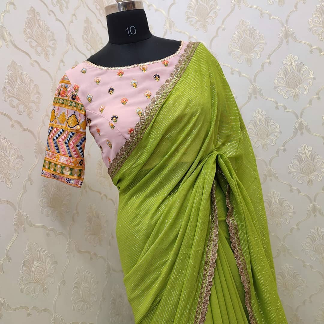 Beautiful designer pure Georgette saree paired with pretty embroidery blouse ..... Collection no:041HV For price details inbox on +917799503713. 2021-09-17