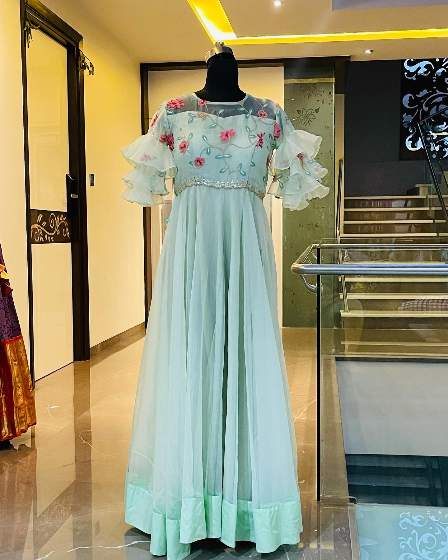Beautiful organza floor length ruffle sleeve long frock with hand embroidery yoke.  Ready to ship. Price : 6000 INR. Fabric : Organza . To order WhatsApp 7013728388. 2021-09-17