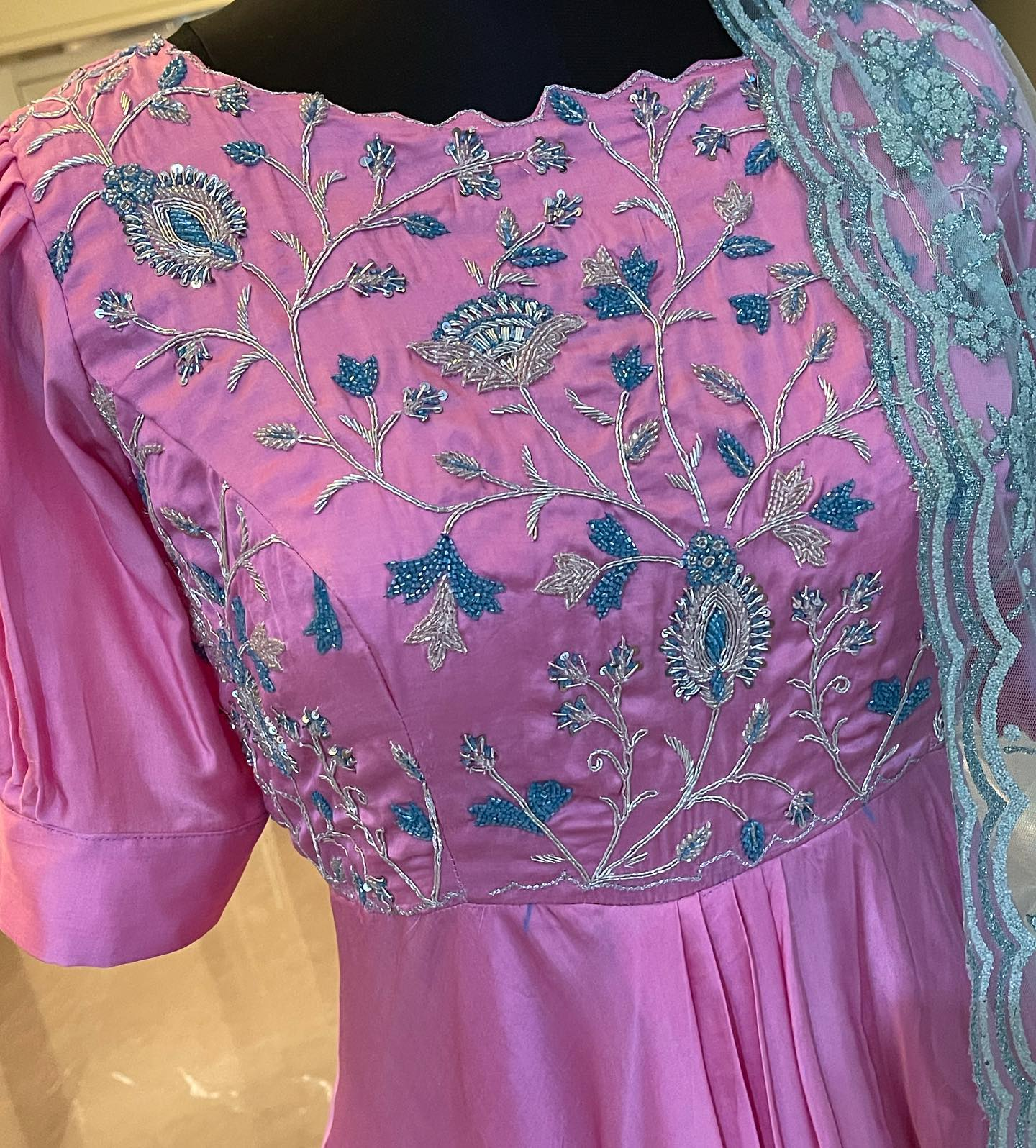 Beautiful pink color satin georgette long frock with hand embroidery work on yoke.  Ready to ship. Price : 8500 INR. Fabric : Satin georgette . To order WhatsApp 7013728388. 2021-09-17
