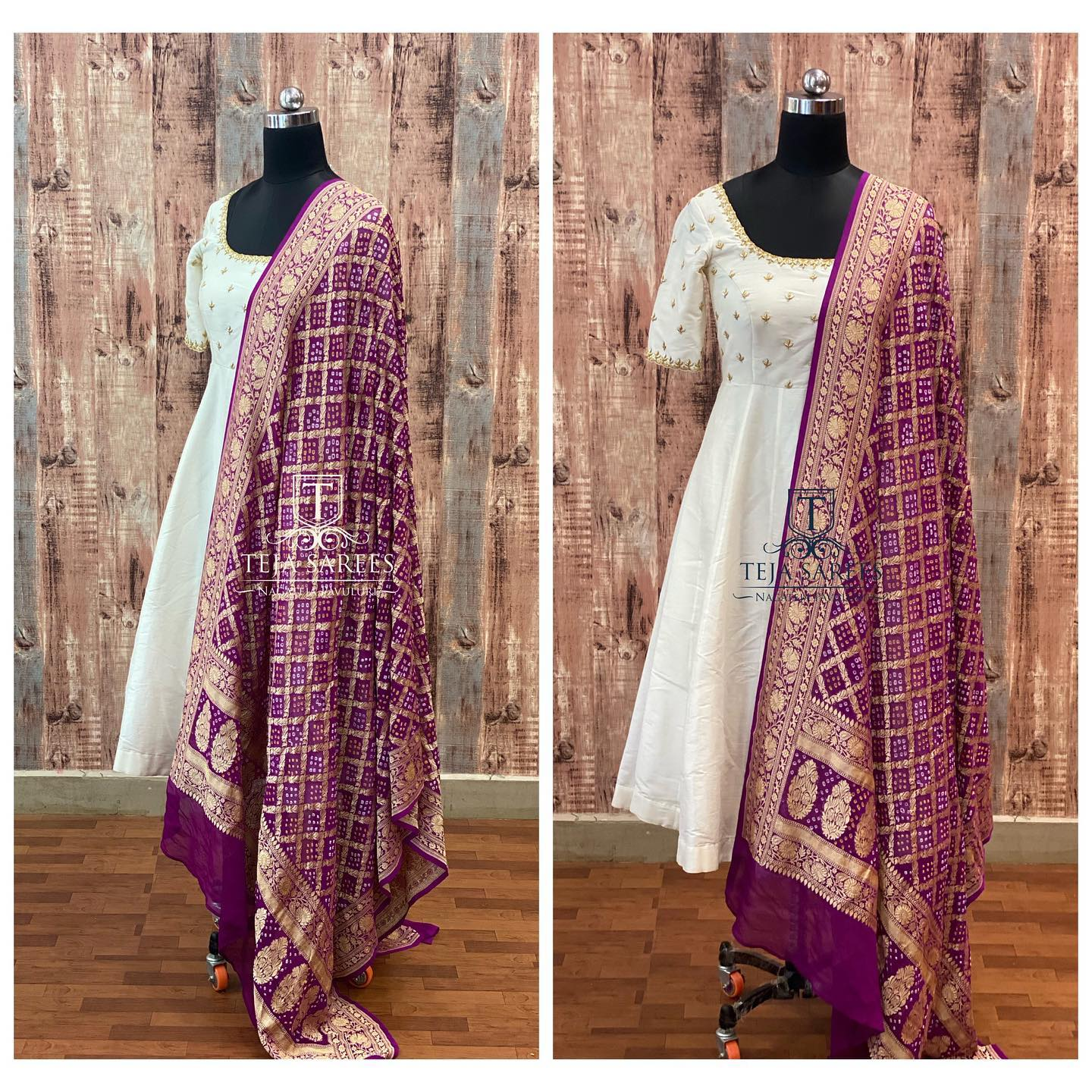 TS-DS- 719. Available. Beautiful pearl white ankle length long frock with purple benarasi dupatta.  For orders/queries Call/ what's app on 8341382382 or Mail  tejasarees@yahoo.com. 2021-09-17