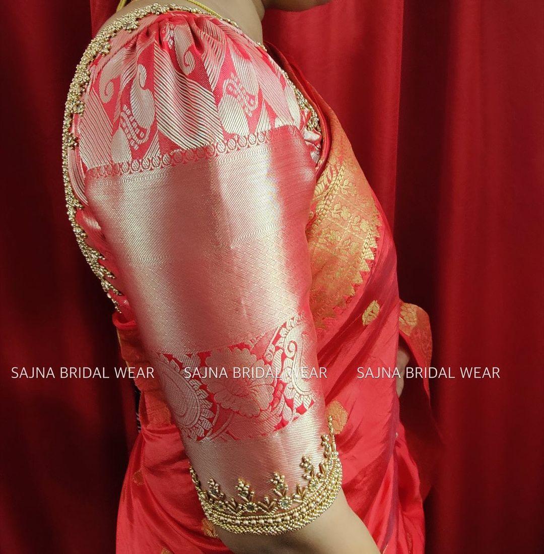 Beautiful red color bridal blouse sleeve with bead aari work . 2021-09-17
