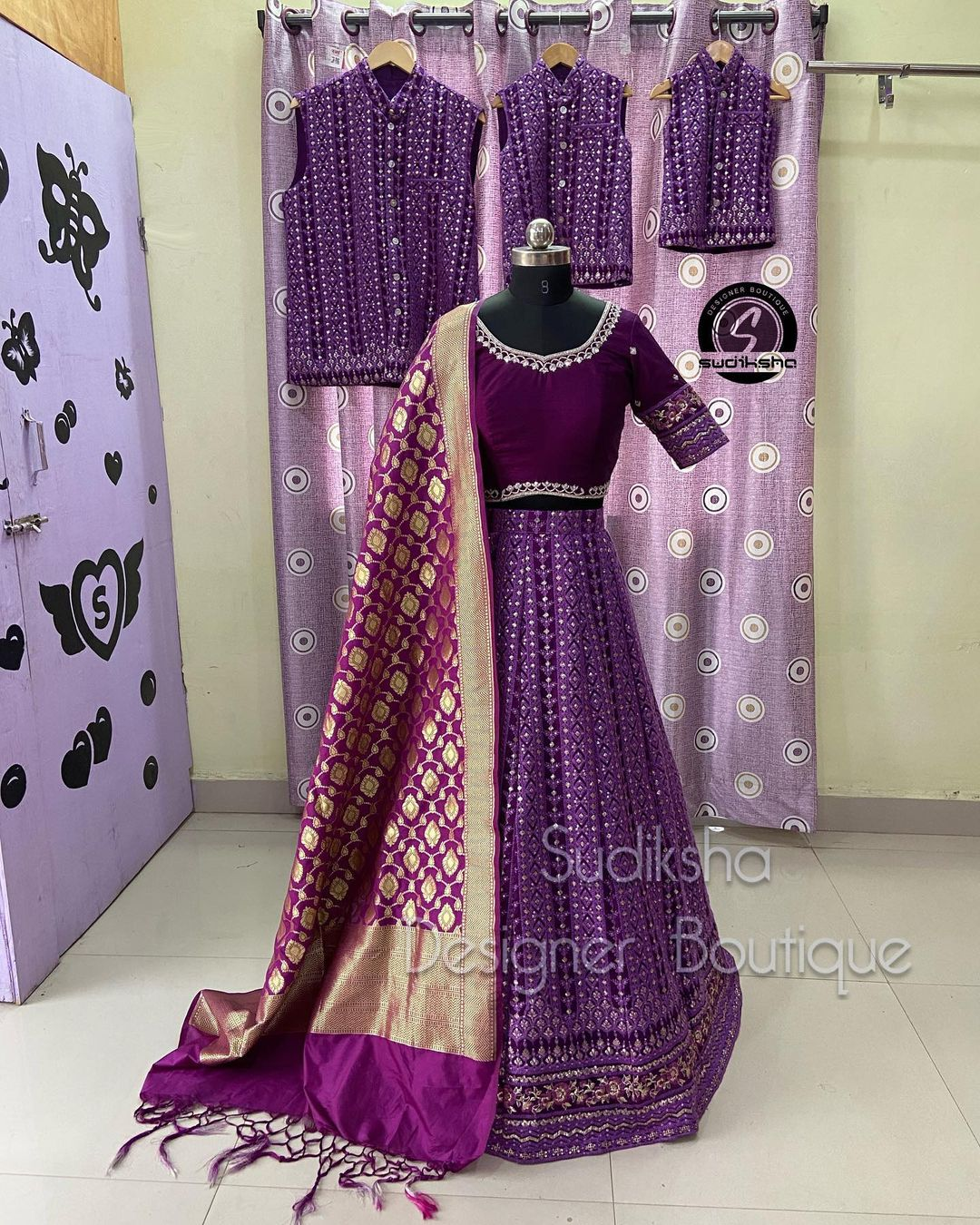 Beautiful purple color lehenga and blouse with benarasi dupatta. This family combo outfit available from Sudiksha designer boutique.  2021-09-17