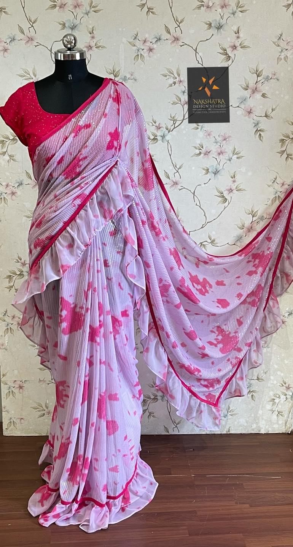 Light pink and dark pink combo Shibori sequnce ruffled saree 2021-09-18