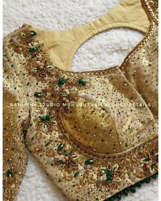 Gorgeous off white color bridal blouse with gold thread bead and stone zardosi work. 2021-09-18