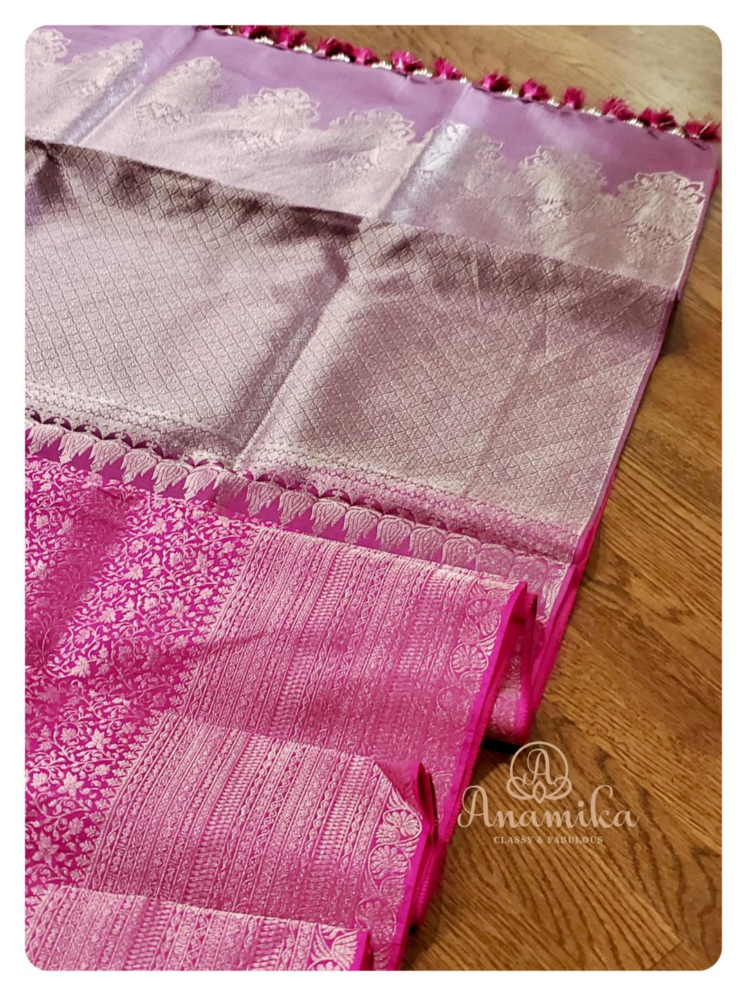 A kanchipattu saree in a nice pink shade .. adorned with silver zari weaving all over.  Paired with a contrast off white blouse with silver embroidery .. you will for sure look like a Diva in this ensemble!! DM 360-545-3636 for inquiries 2021-09-18