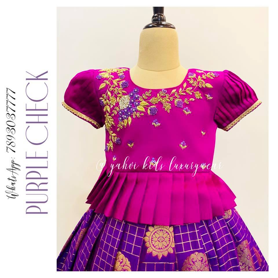 Pink and purple checks kids lehanga  in beautiful hand embroidery  work . For orders : DM or whatsapp 7893037777( messages only   no calls plz )  2021-09-18