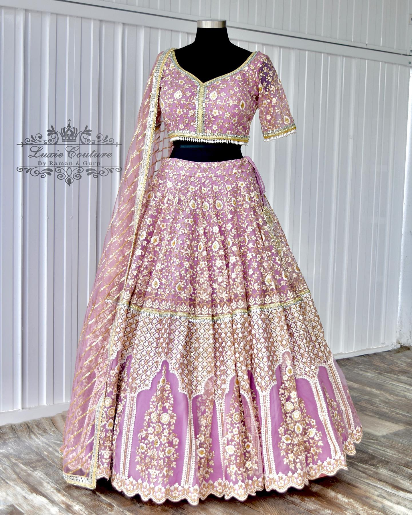 Stunning lavender color bridal lehenga and blouse with classy hand embroidery work.  2021-09-18
