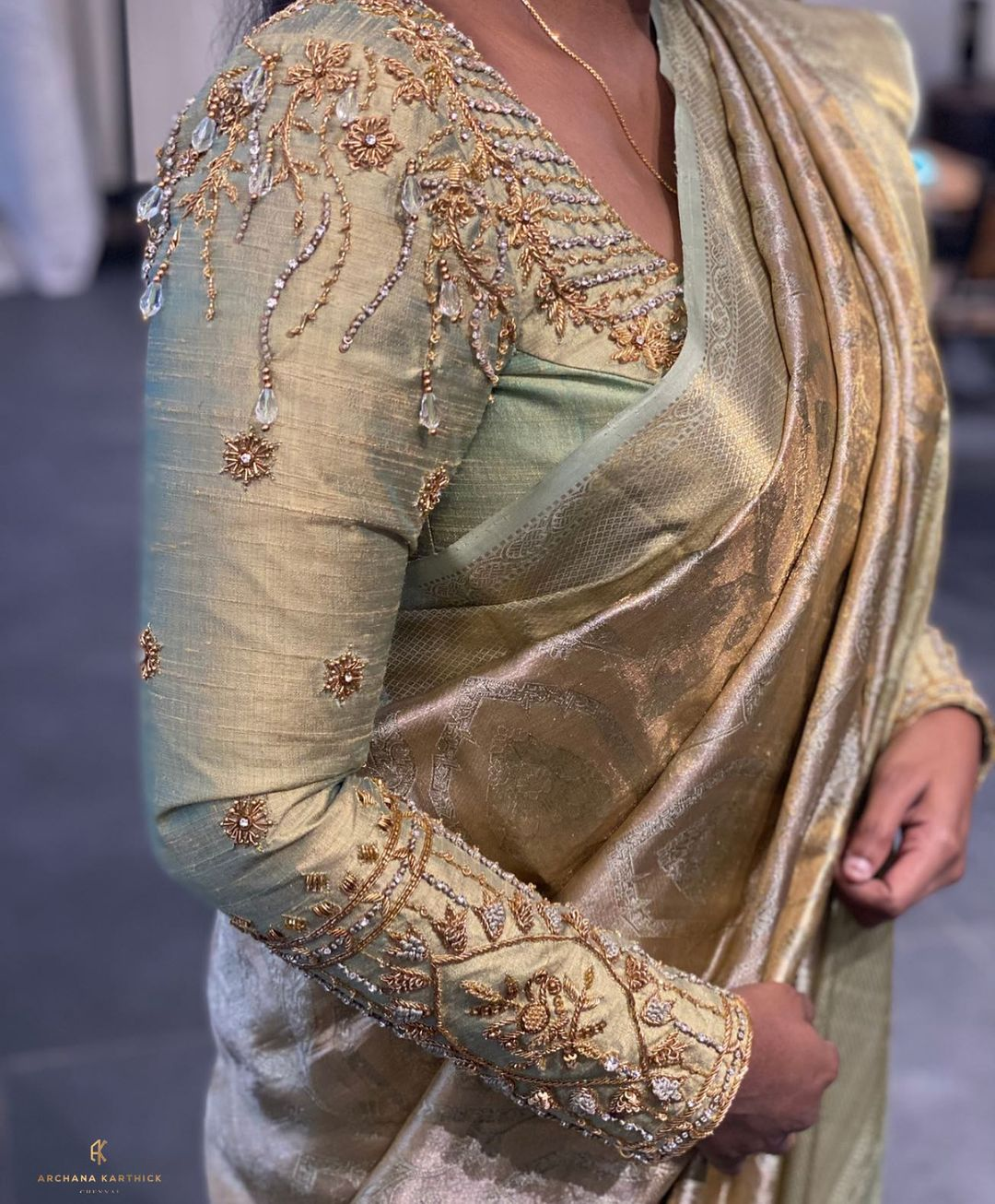Gorgeous olive green color bridal blouse full sleeve with floral and creeper hand embroidery bead aari work.  2021-09-18