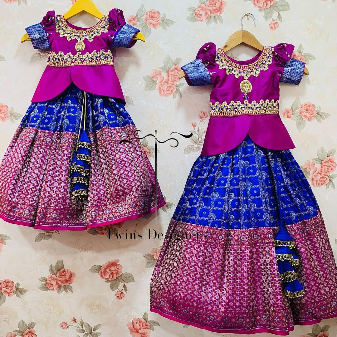 Stunning purple and blue combination kids lehenga and long blouse. Peplum top with hand embroidery work. Traditional sis combo.  2021-09-18