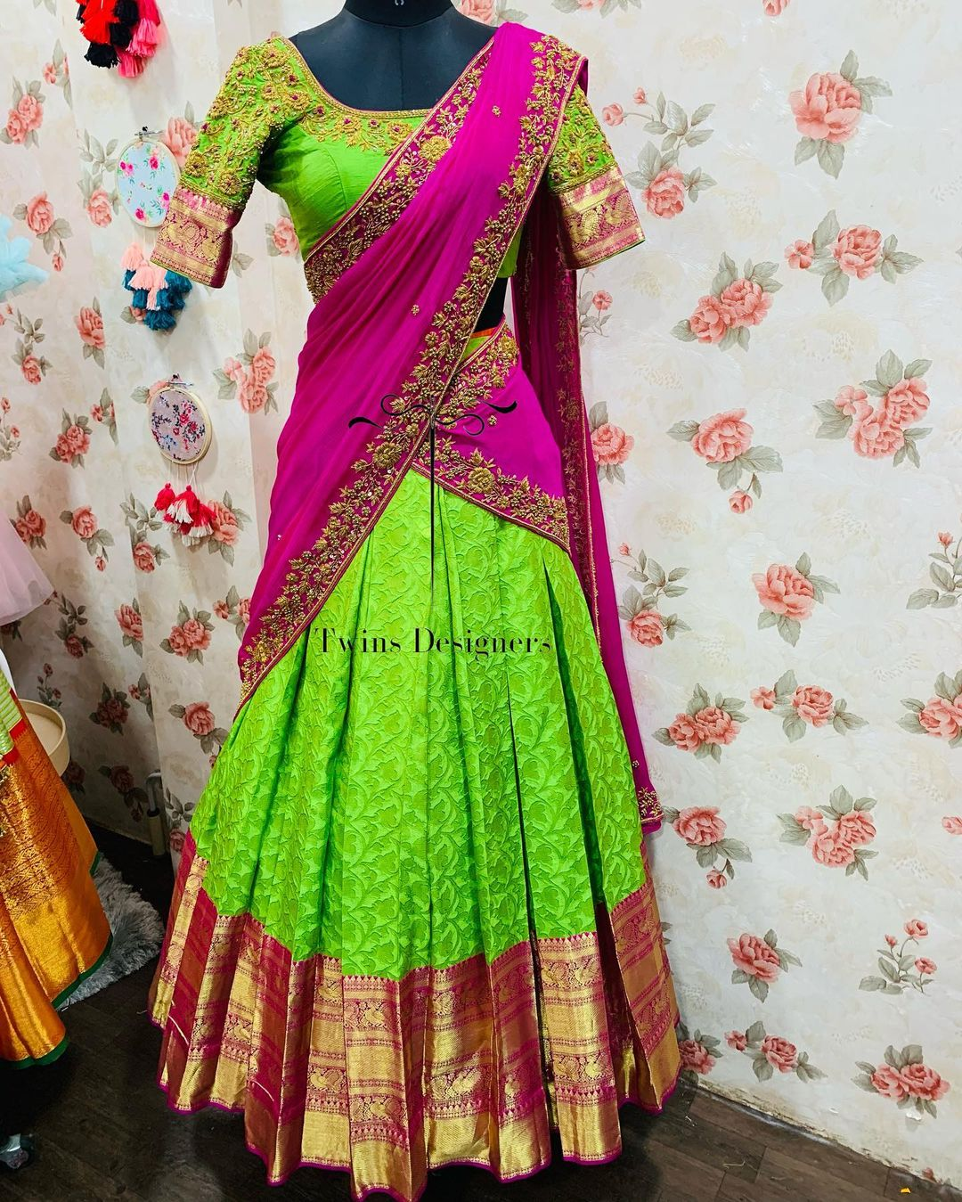 Pure kanjeevaram lehenga paired with contrast hand made work blouse and duppata.  For orders call/Whatsapp:8374504389/9059693997 2021-09-18