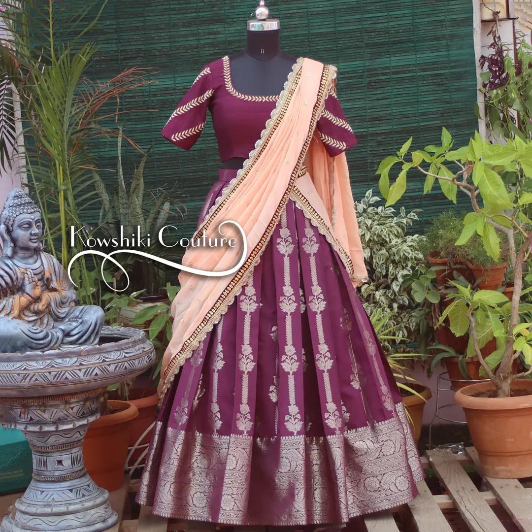 Beautiful wine color Pure silk half saree. 2021-09-18